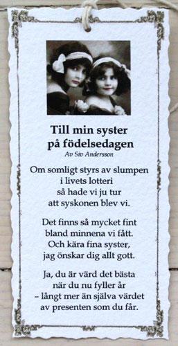 grattis syster dikt Diktkort   Till min syster på födelsedagen | Butik Älva grattis syster dikt