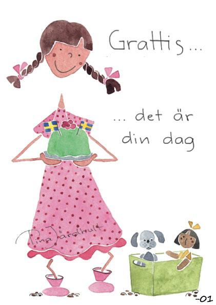 grattis flicka Vykort Grattis flicka (TJ Produktion) | Butik Älva grattis flicka