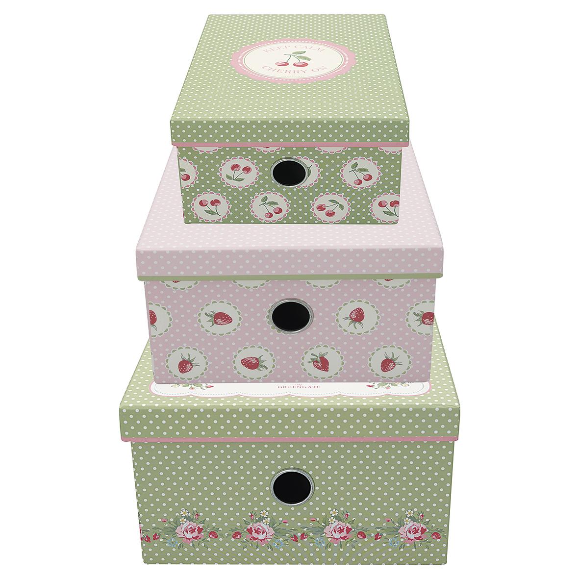 GreenGate Förvaringsbox Fyrkantig, Mary White, 3 storlekar
