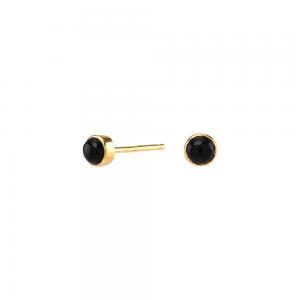 Nordahl - Sweets svart onyx 4,5mm örhänge guld