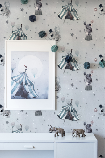 Circus mighetto wallpaper grey