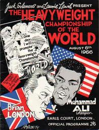 Programbladet till Brian Londons VM-match mot Muhammad Ali 1966!