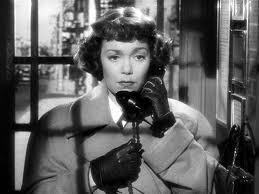 Jane Wyman i en telefonkiosk ur Rampfeber
