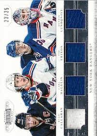 2011-12 Dominion Quad Jerseys #18 Carl Hagelin/25/Henrik Lundqvist/Ryan Callahan/Tim Erixon