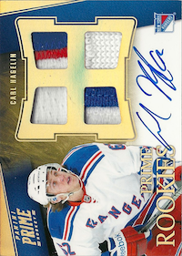 2011-12 Panini Prime Rookies Hologold Patch Autographs #138 Carl Hagelin /25