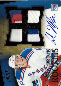 2011-12 Panini Prime Rookies Black Patch Autographs #138 Carl Hagelin /10