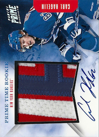 2011-12 Panini Prime Time Rookies Jersey Auto Patch #16 Carl Hagelin /5