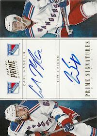 2011-12 Panini Prime Signatures Duals Gold #10 Carl Hagelin/Tim Erixon /15