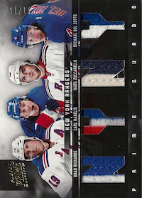 2011-12 Panini Prime Quads Jerseys Prime #20 Brad Richards/Carl Hagelin/Mats Zuccarello/Michael Del Zotto /15
