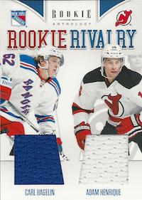 2011-12 Panini Rookie Anthology Rookie Rivalry Dual Jerseys #17 Carl Hagelin/Adam Henrique