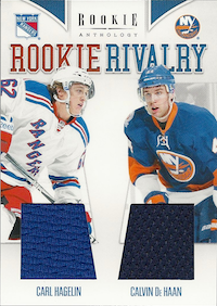 2011-12 Panini Rookie Anthology Rookie Rivalry Dual Jerseys #47 Carl Hagelin/Calvin De Haan