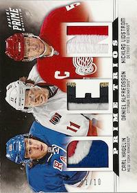 2012-13 Panini Prime Trios Jerseys Patch #23 Carl Hagelin/Daniel Alfredsson/Nicklas Lidstrom/10