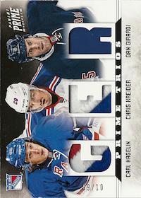 2012-13 Panini Prime Trios Jerseys Patch #6 Carl Hagelin/Chris Kreider/Dan Girardi /10