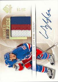 2012-13 SP Authentic Limited Autographed Patches #59 Carl Hagelin AU /25