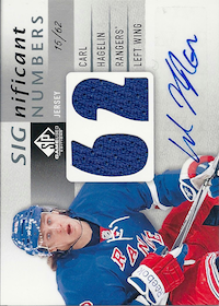 2013-14 SP Game Used SIGnificant Numbers Autographs #SNCH Carl Hagelin /62
