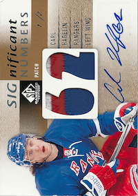 2013-14 SP Game Used SIGnificant Numbers Autographs Patches #SNCH Carl Hagelin /2