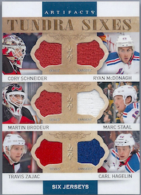 2014-15 Artifacts Tundra Sixes Jerseys Blue #T6NJDNYR Cory Schneider/Martin Brodeur/Travis Zajac/Ryan McDonagh/Marc Staal/Carl Hagelin A