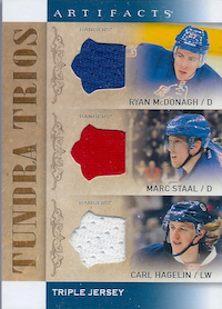 2014-15 Artifacts Tundra Trios Jerseys Blue #T3NYR Ryan McDonagh/Marc Staal/Carl Hagelin B