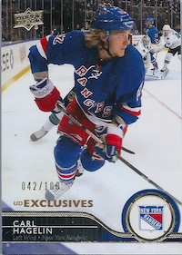 2014-15 Upper Deck Exclusives #380 Carl Hagelin /100