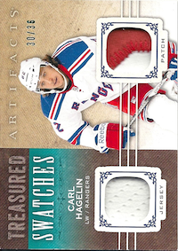 2014-15 Artifacts Treasured Swatches Jerseys Patches Emerald #TSCH Carl Hagelin /36
