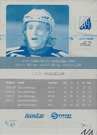 2012-13 Hockeyallsvenskan Press Plate Edition Cyan backside 227 Carl Hagelin, Södertälje SK 1/1