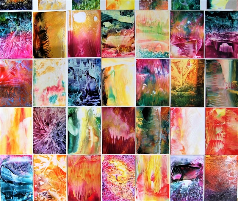 Encaustic Art cards / beeswax on paper - many of them