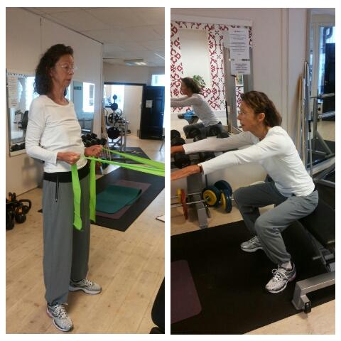 Basövningar såsom knäböj och gummiband som motstånd, är exempel på aktiverings- och stabilitetsträning.