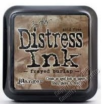 Distress ink frayed burlap