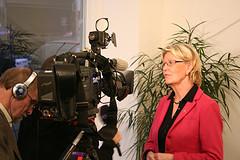 Metta Fjelkner intervju för SVT. Källa Flickr