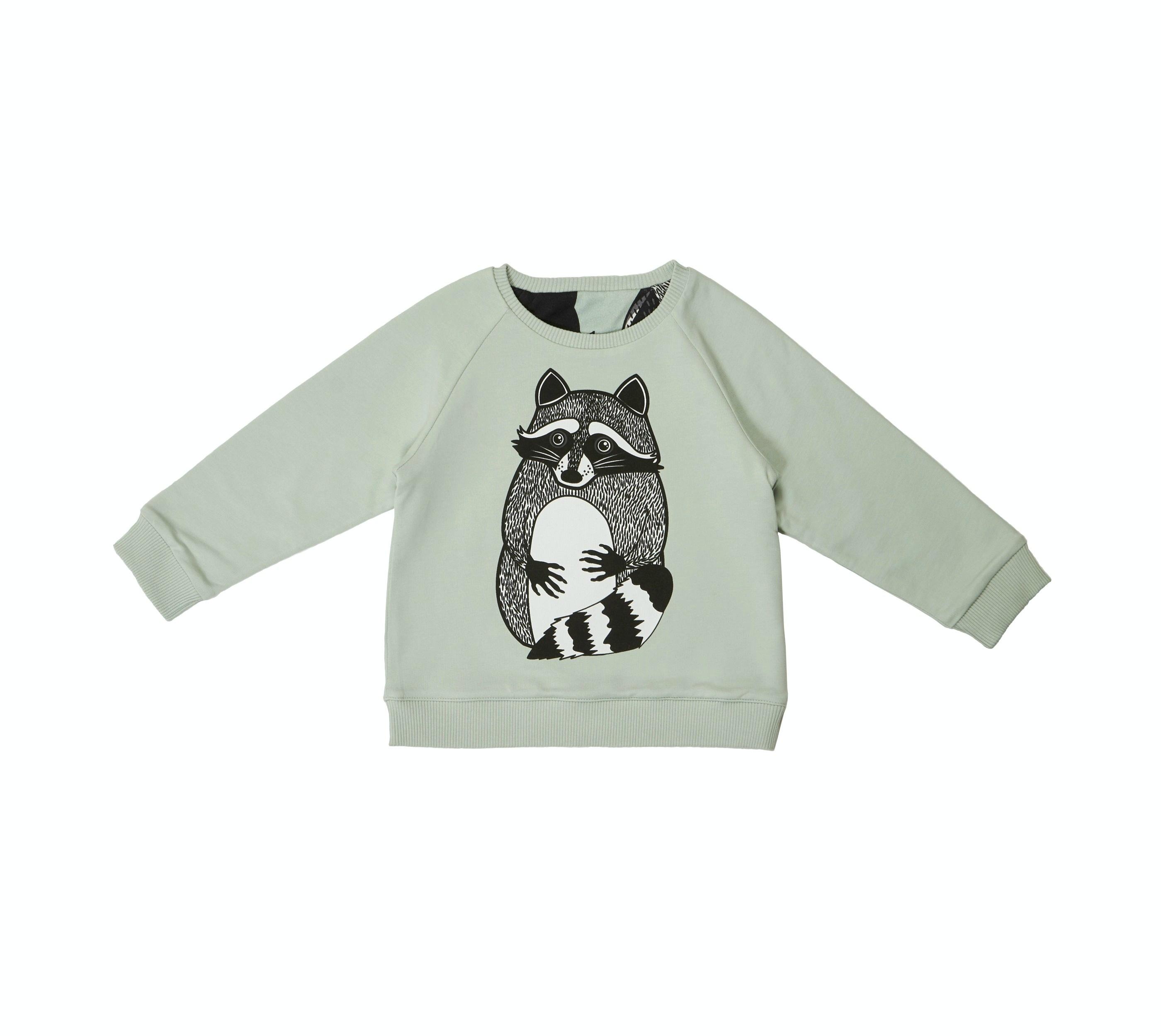 18SSRSR Reversible sweatshirt Raccoon solitary side