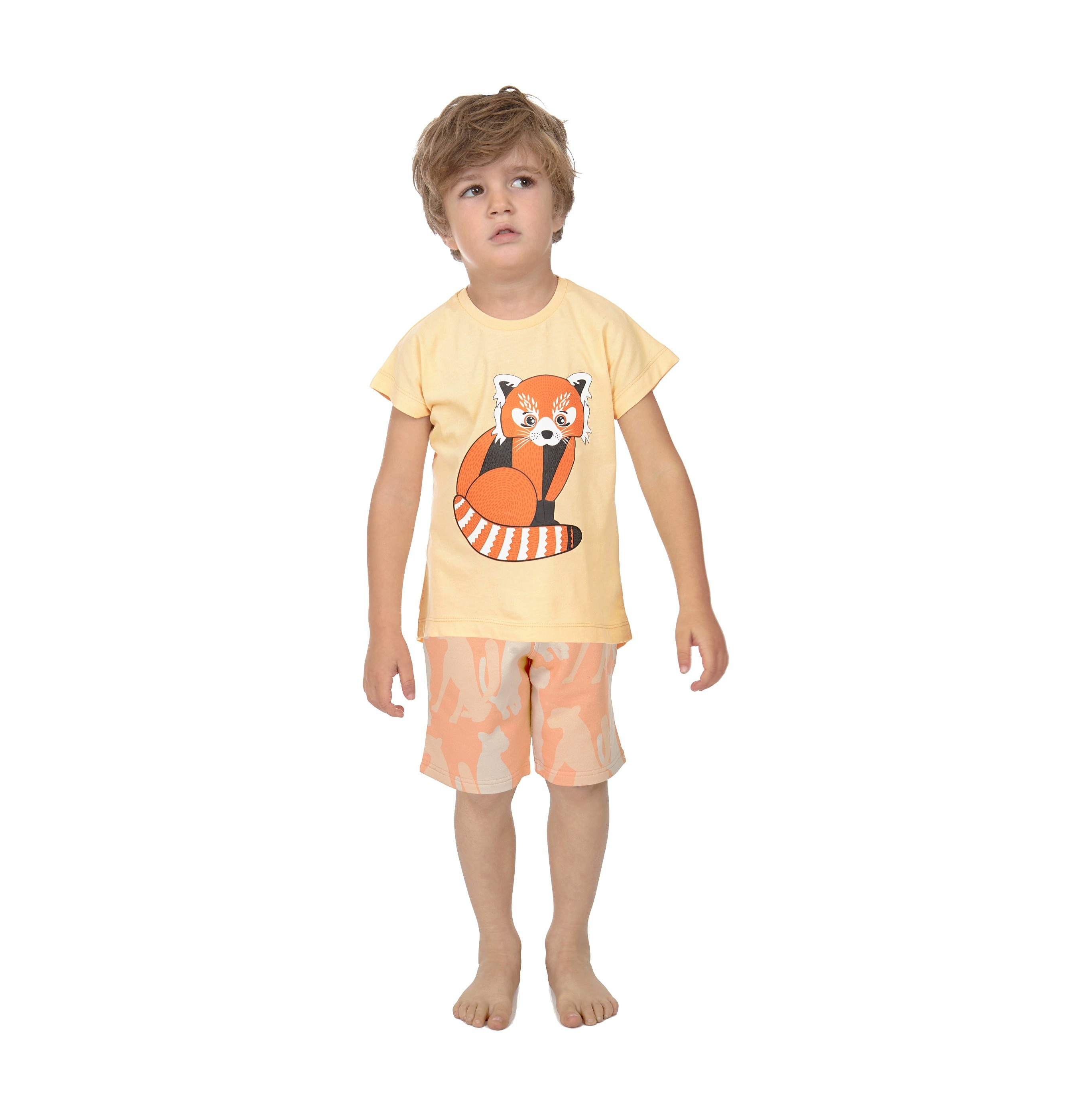 T-shirt Red Panda + Shorts Cheetah Silouette